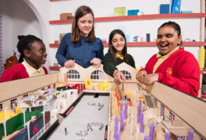 Gill Lambert from AOC Architecture running a co-design session with pupils from a local school. ©V&A Museum of Childhood